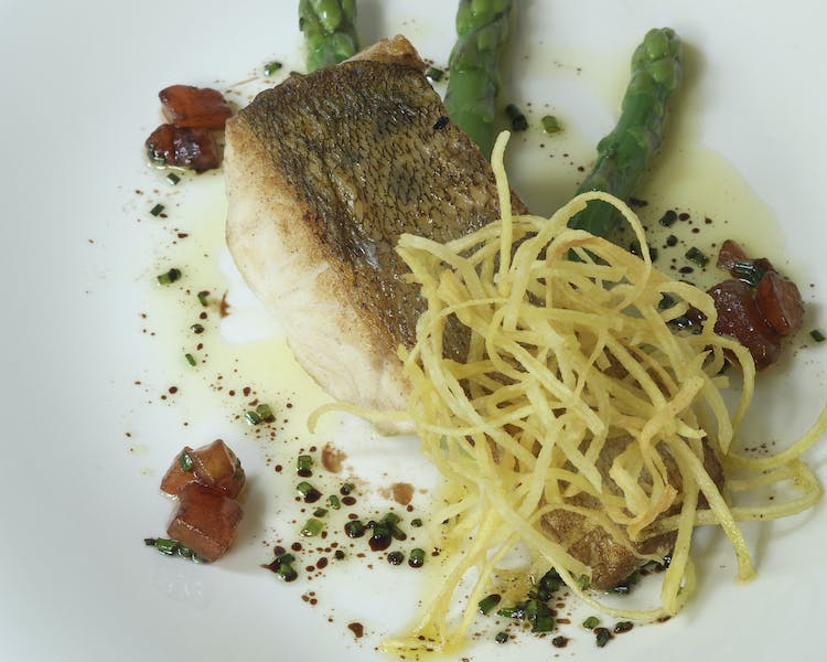 Light Fish dish with green asparagus