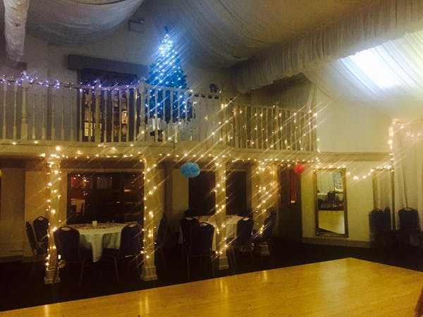 Function Room Lit up at Christmas Time