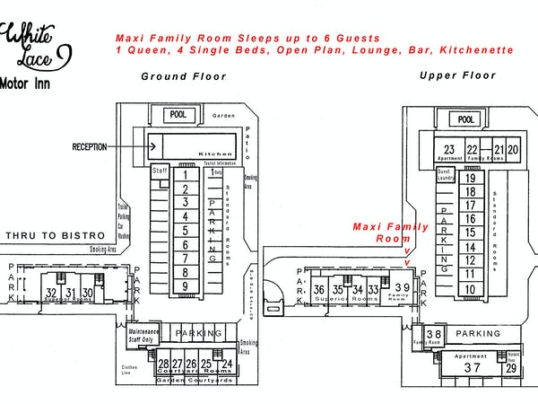 Maxi Family Room site plan White Lace Motor Inn Mackay, budget accommodation mackay