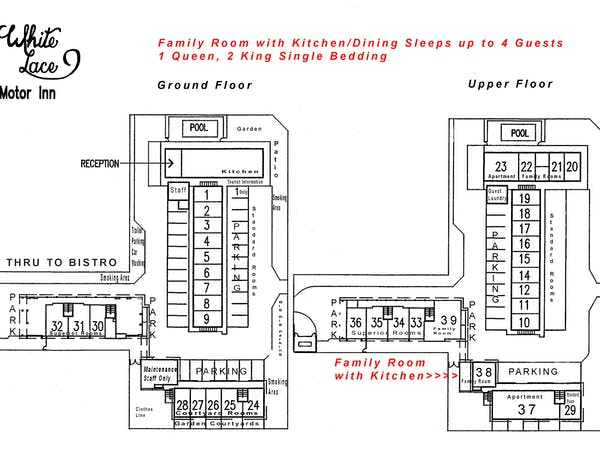 Family Room with Kitchen site plan White Lace Motor Inn Mackay, Family room Mackay