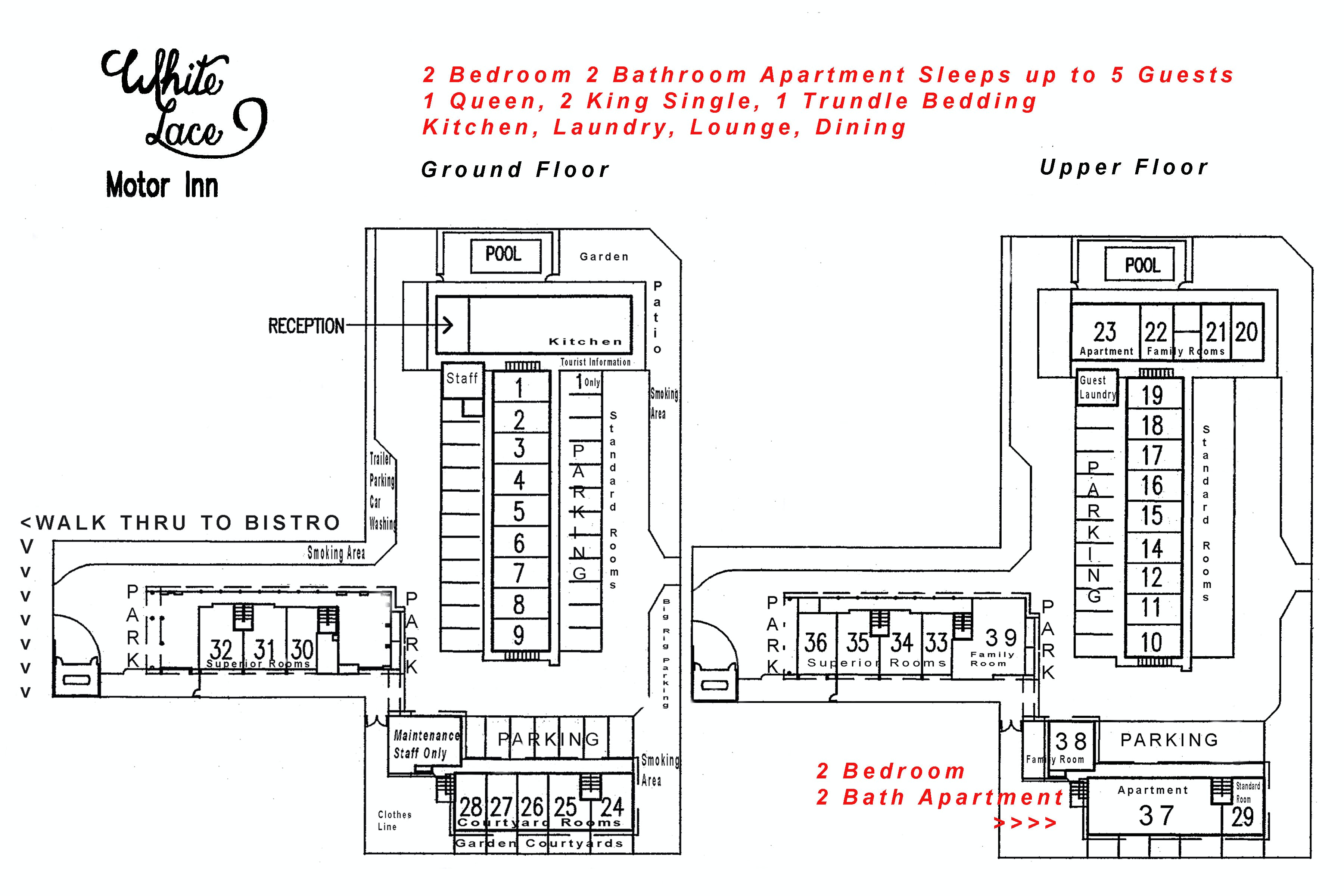 Two Bedroom Two Bathroom Apartment site plan White Lace Motor Inn Mackay, Self contained accommodation Mackay