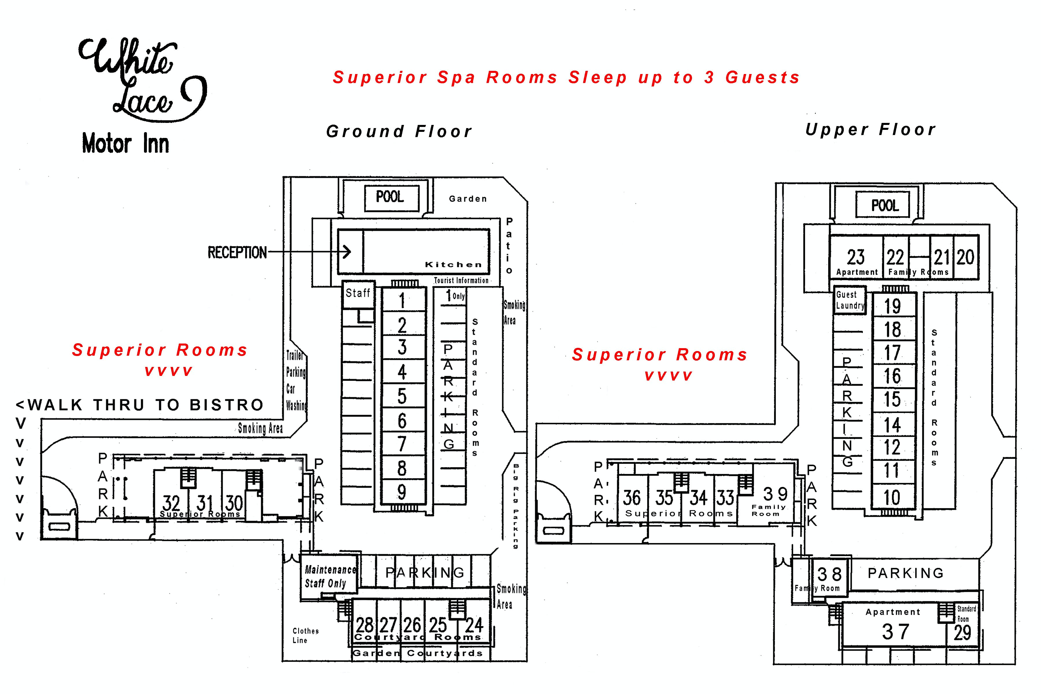 Superior Spa site plan White Lace Motor Inn Mackay, Spa room Mackay