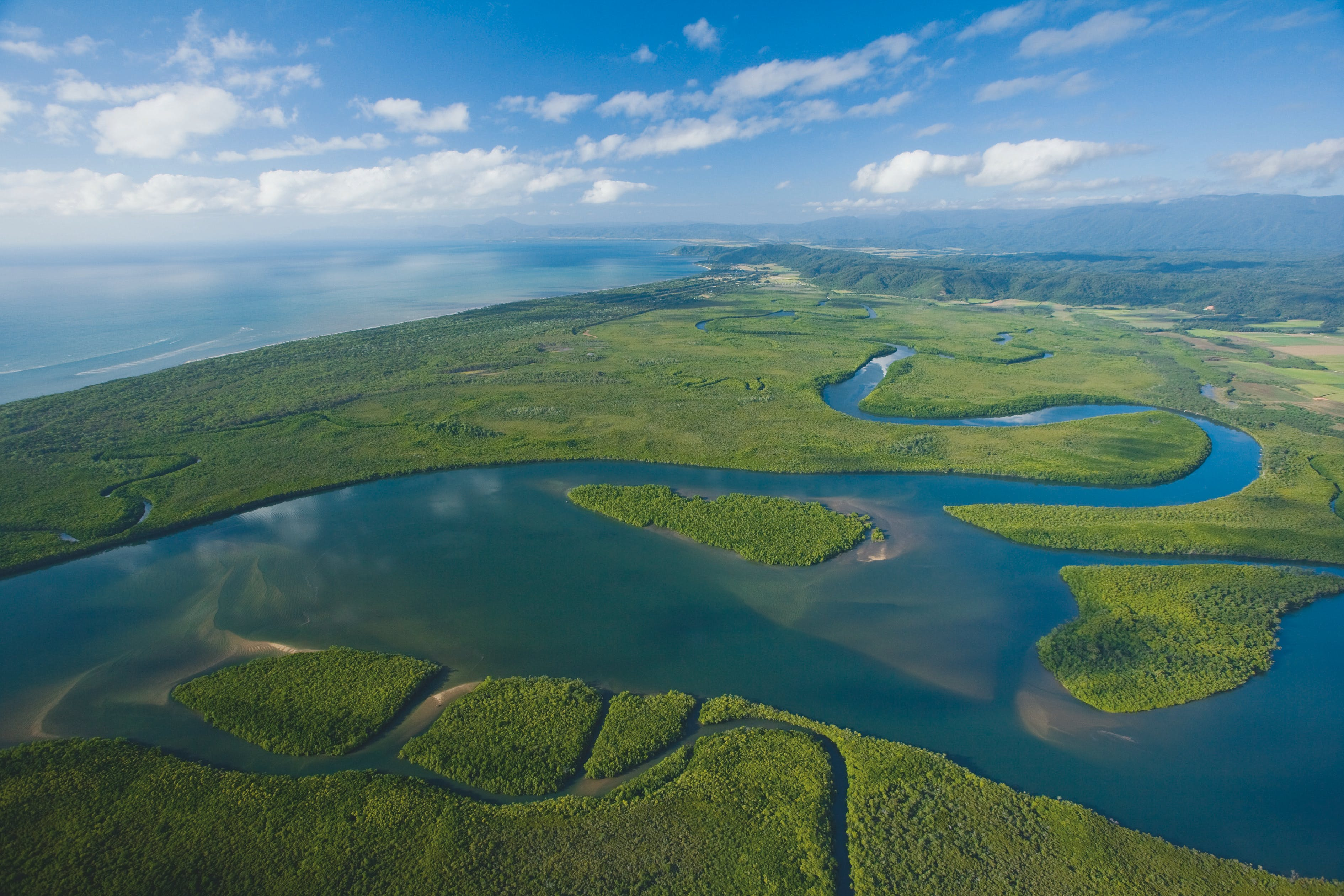 Aerial view of the Daintree.