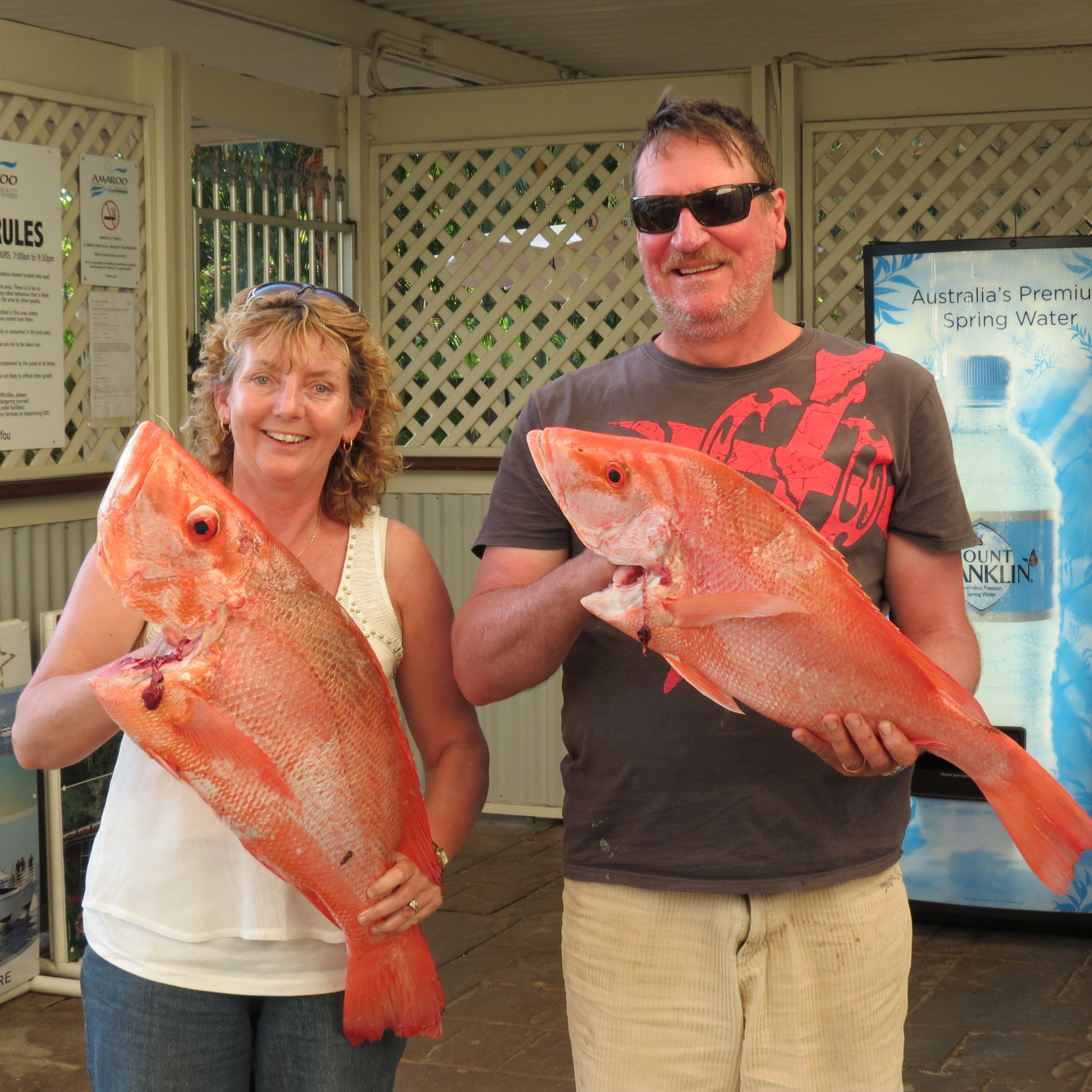 Guests after a successful fishing charter.