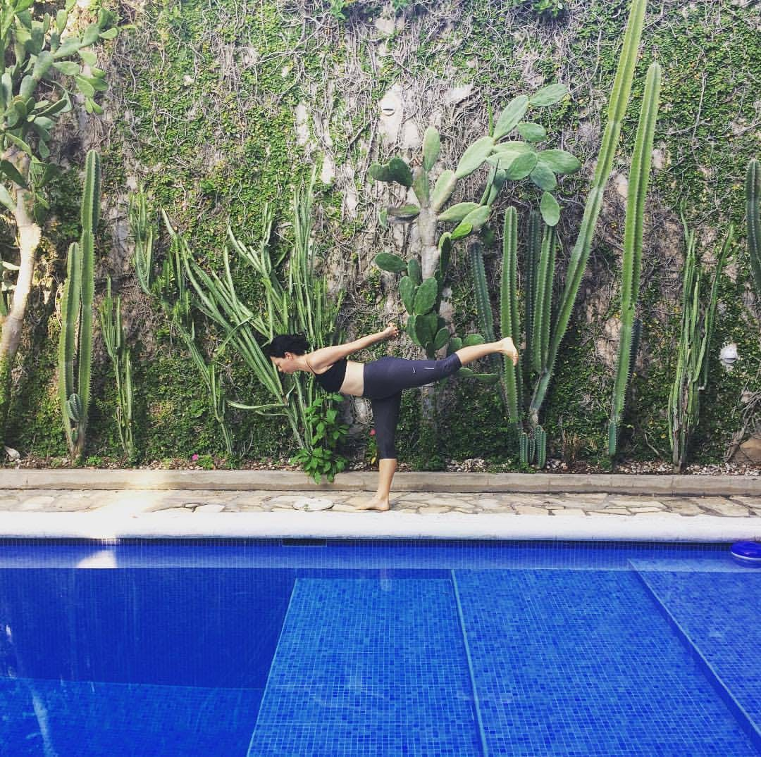 Yoga Practice by the Pool
