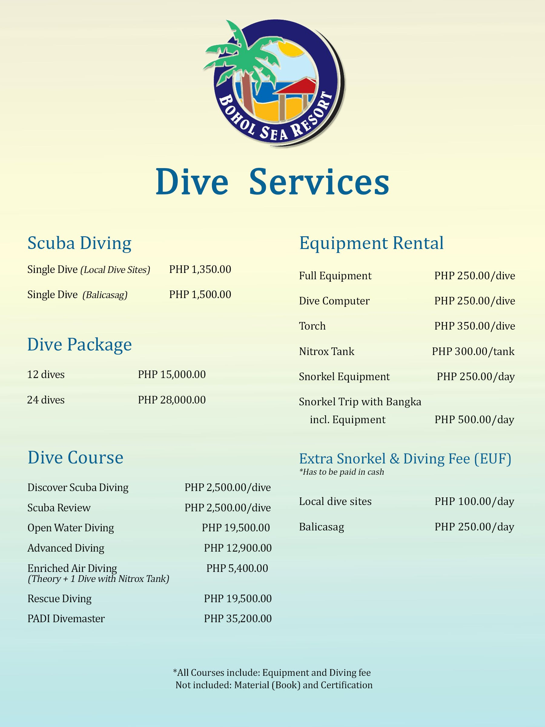 Affordable Dive Rates