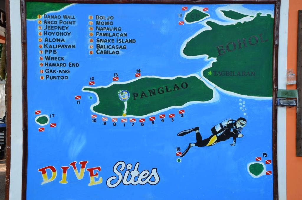 A Diving Map in Panglao Bohol to find the Best Diving area in Bohol