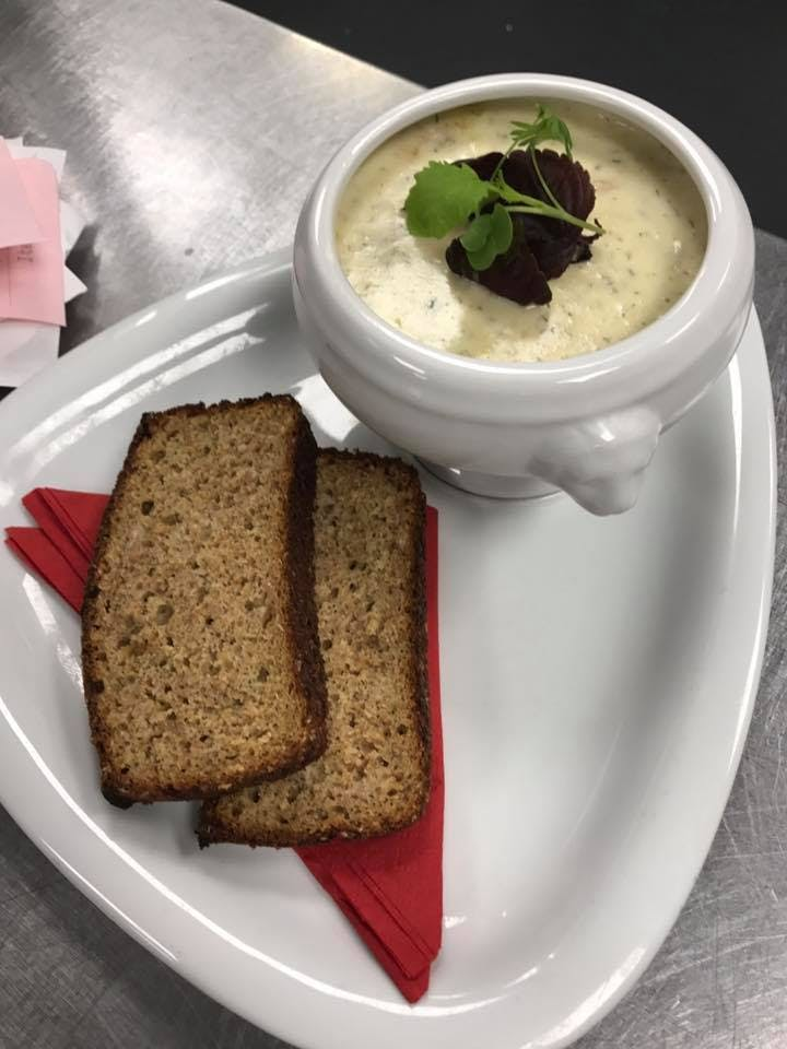Wild Atlantic Seafood Chowder, Salmon, Shrimp, Cod, & Naturally Smoked Haddock served with Brogans Homemade Brown Bread