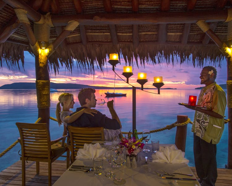 The Havannah, Vanuatu. Award winning Luxury resort retreat for couples,  romance, weddings and Honeymoon. Jetty dining