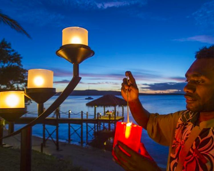 The Havannah, Vanuatu. Award winning Luxury resort  for couples,  romance, weddings and Honeymoon, Sunsets