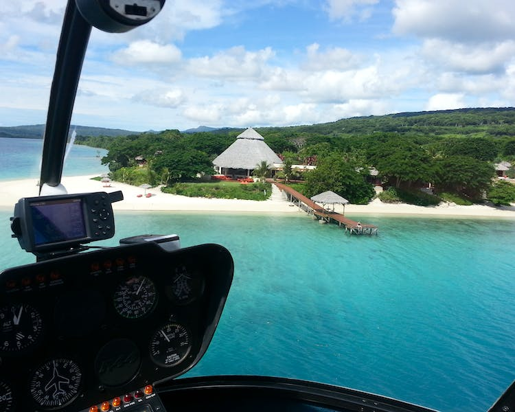 Helicopter Transfer Havannah, Vanuatu Luxury Couples resort
