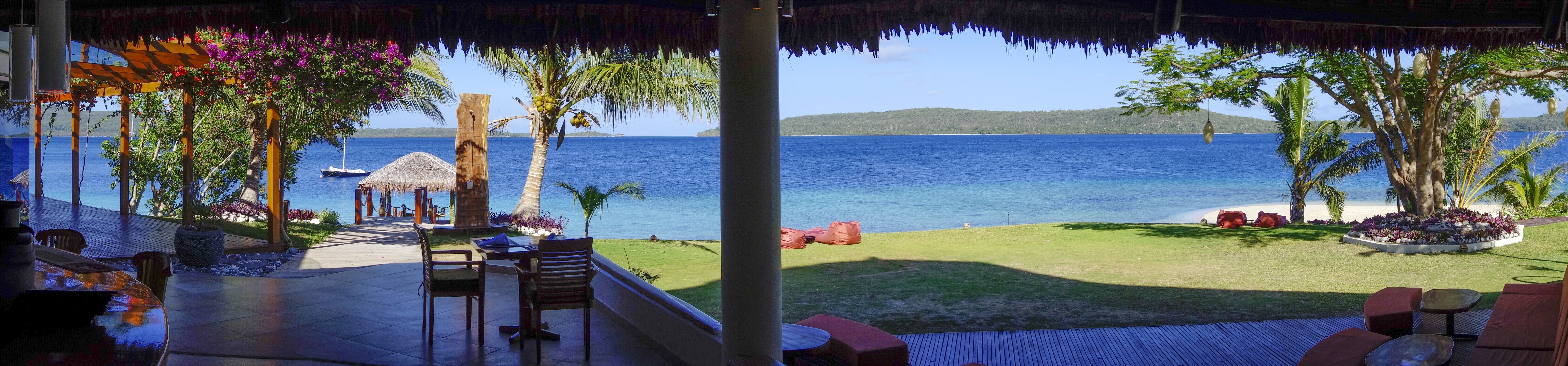 The Havannah, Vanuatu. Award winning Luxury resort  for couples,  romance, weddings and Honeymoon. View from Restaurant