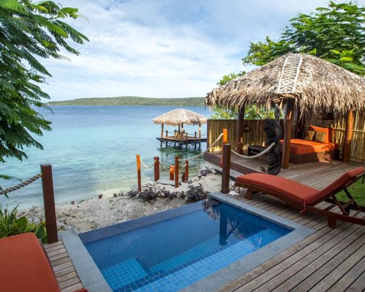 The Havannah, Vanuatu. Award winning Luxury resort  romance, weddings and Honeymoon. Waterfront Villa. Plunge Pool