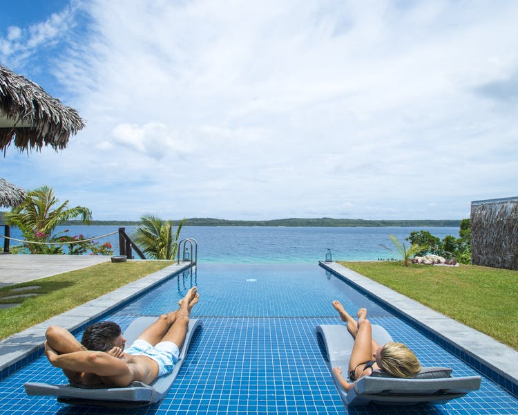 Deluxe Waterfront Villa The Havannah, Vanuatu. Award winning Luxury resort  for couples, private pool
