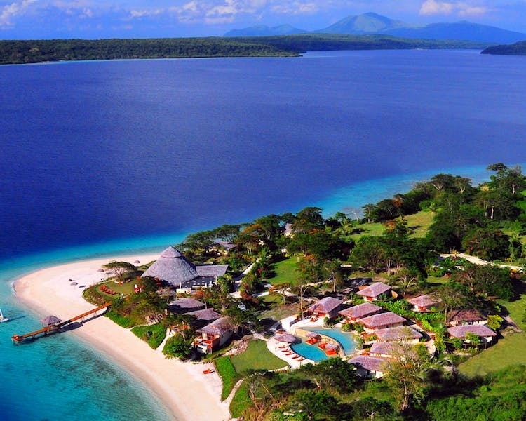 The Havannah, Vanuatu. Award winning Luxury resort  for couples,  romance, weddings and Honeymoon. Aerial view