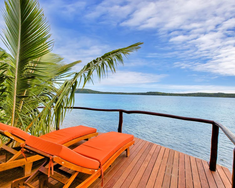 Deluxe Waterfront Villa The Havannah, Vanuatu. Award winning Luxury resort  for couples, Sun deck