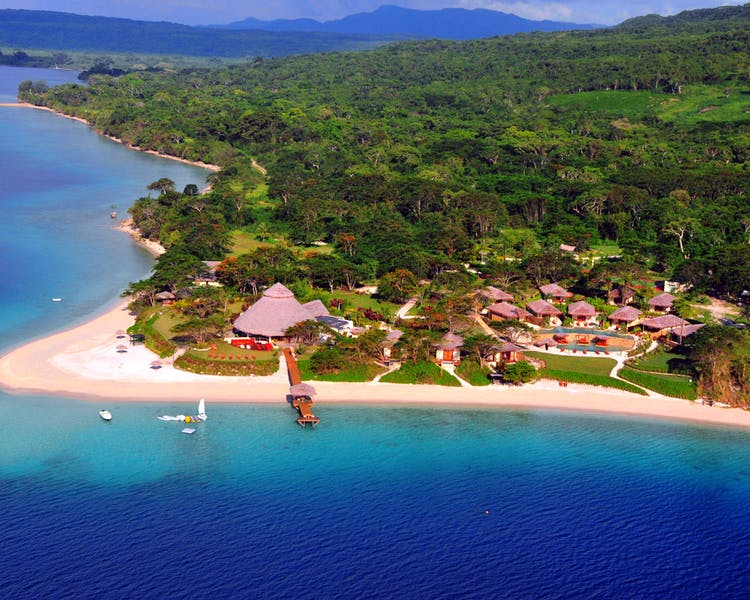 Aerial View The Havannah, Vanuatu. Award winning Luxury resort retreat for couples,  romance, weddings and Honeymoon.
