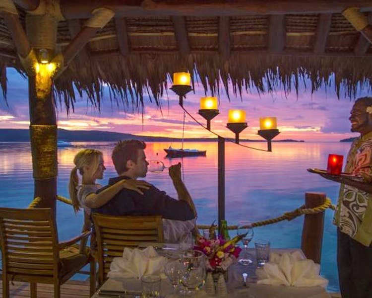 The Havannah, Vanuatu. Award winning Luxury resort  for couples,  romance, weddings and Honeymoon, Jetty Dining