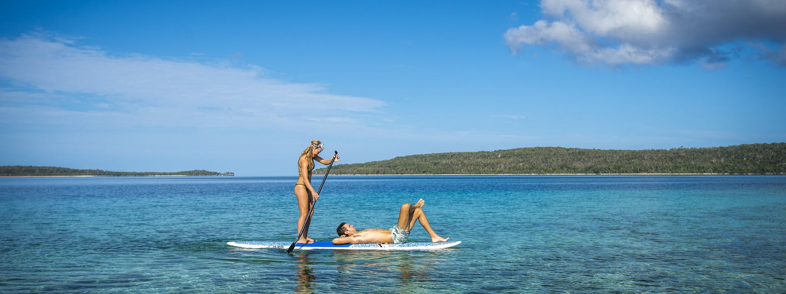 Paddle boards The Havannah, Vanuatu. Award winning Luxury resort retreat for couples,  romance, weddings and Honeymoon.