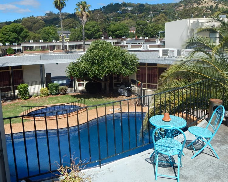 Terrace overlooking the pool - 4 Economy Double rooms located upstairs in this area