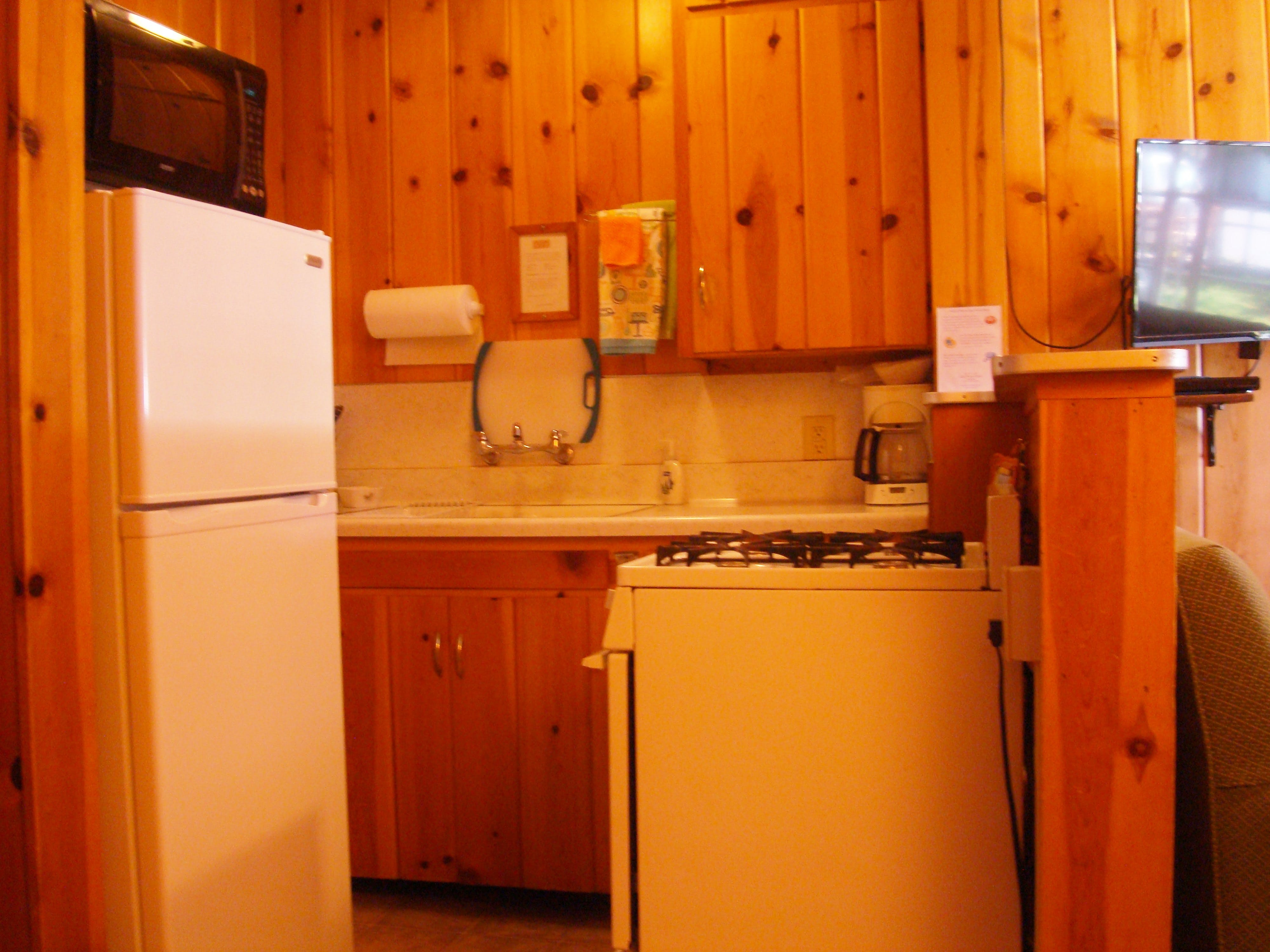 Kitchen in 2-bedroom cabin.