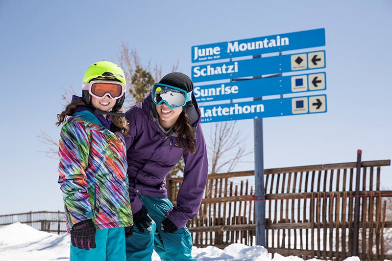 June Mountain Ski Resort, free skiing for children 12 yrs old and under, 1.25 miles from Lake Front Cabins.