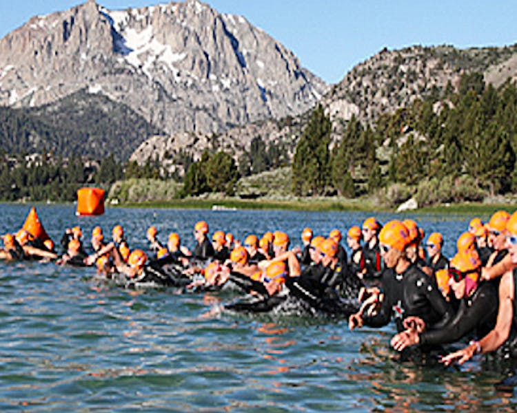 "Annual June Lake Triathlon, the ""Greatest Race in the Most Beautiful Place"", held in early July."