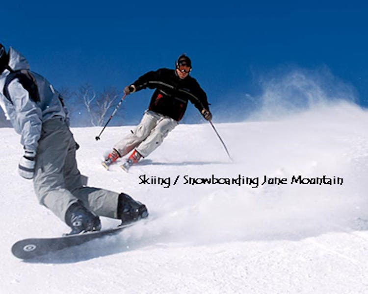 Skiing / snowboarding June Mountain, 1.2 miles from Lake Front Cabins.