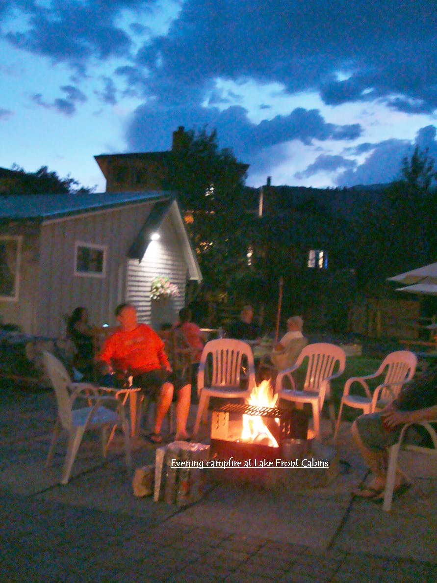 Evening campfire at Lake Front Cabins, June Lake.