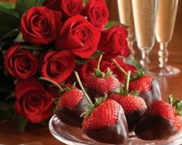 One Dozen Roses and Chocolate Covered Strawberries