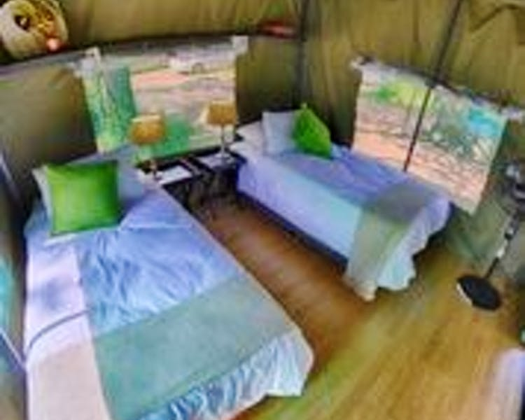 The interior of our safari tents are comfortable