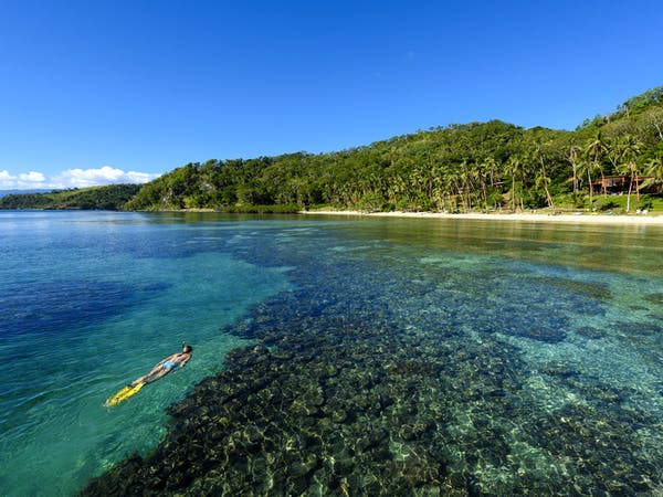 Snorkelling on the house reef at The Remote Resort Fiji Islands