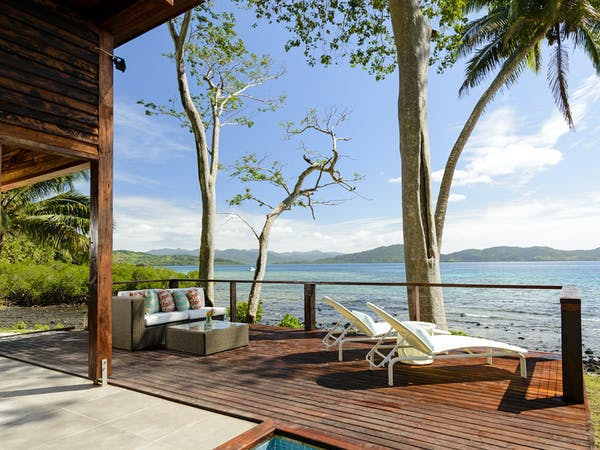 Plunge pool and deck in Two-bedroom Villa at The Remote Resort Fiji Islands.  Oceanfront,  plunge pool, family accommodation