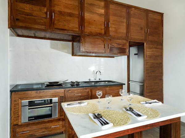 Kitchenette in the Two-bedroom Villa at The Remote Resort Fiji Islands.  Oceanfront,  plunge pool, family accommodation