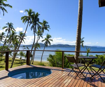 Plunge pool and ocean views on the deck of an Oceanfront Villa at The Remote Resort Fiji Islands