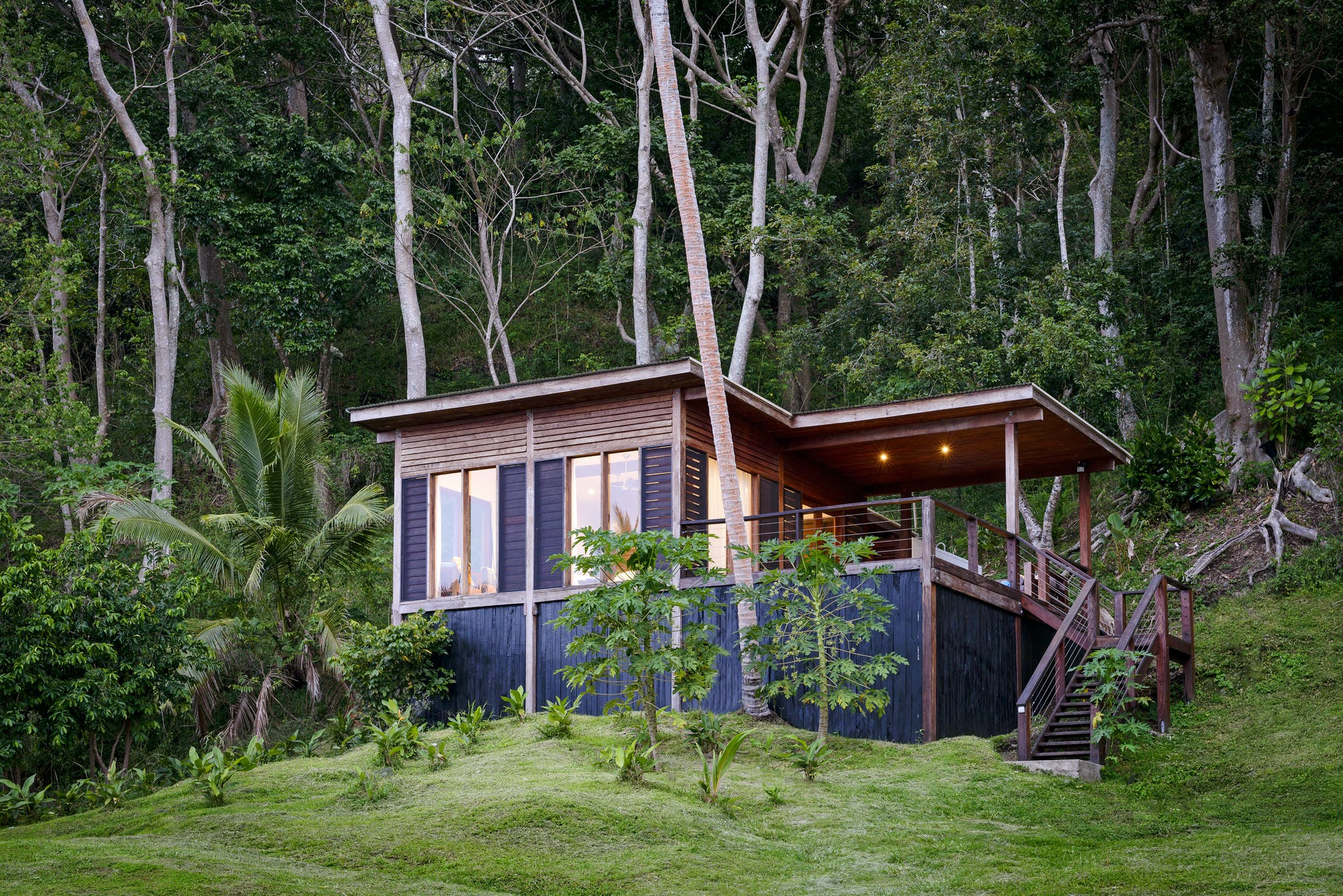 Exterior of an Oceanfront Villa at The Remote Resort Fiji Islands.  Built from Vesi timber felled and milled on-site