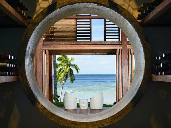 View through the culverts in the Main Pavilion Restaurant at The Remote Resort Fiji Islands