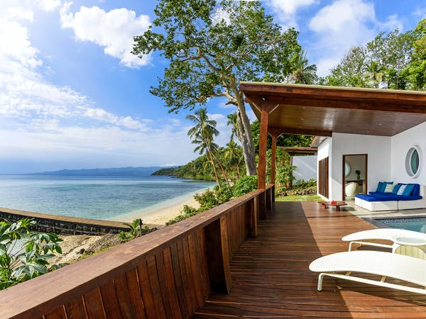 Views from an Oceanfront Retreat at The Remote Resort Fiji Islands. The Oceanfront Retreats are Adults only accommodation.