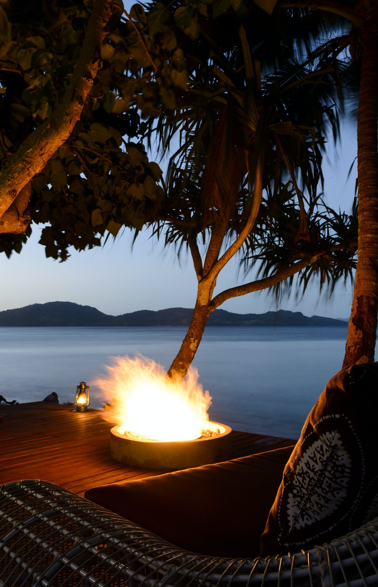 Dining on the Fire pit deck at The Remote Resort Fiji Islands
