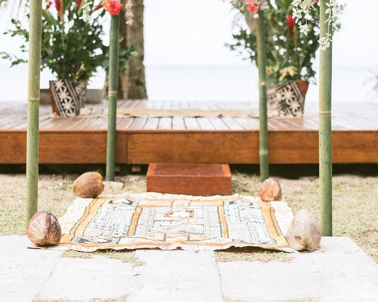 Fijian Tapa wedding setup at The Remote Resort Fiji Islands