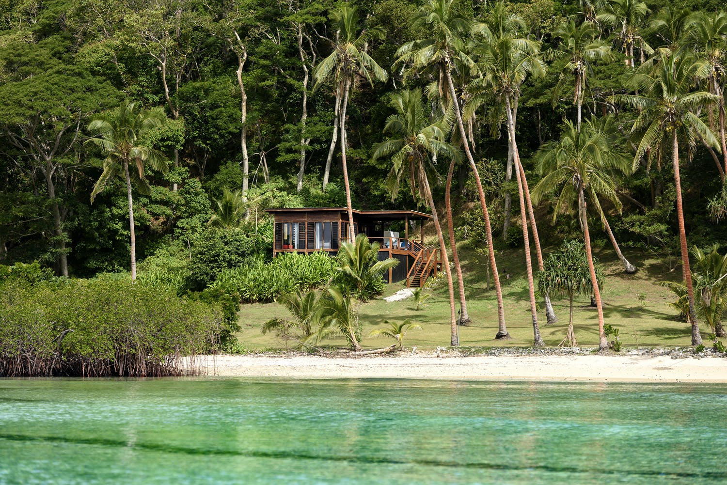View of Oceanfront Villa from the ocean at Remote Resort Fiji Islands