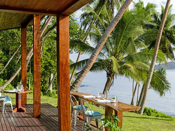 Breakfast on the deck of the Main Pavilion Restaurant at The Remote Resort Fiji Islands