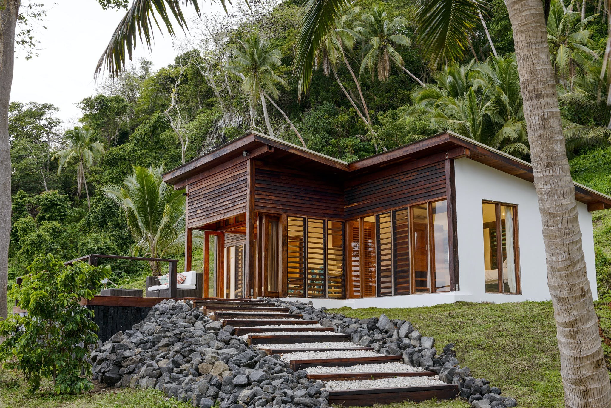 Exterior of the Two-bedroom Villa at The Remote Resort Fiji Islands.  Oceanfront,  plunge pool, family accommodation