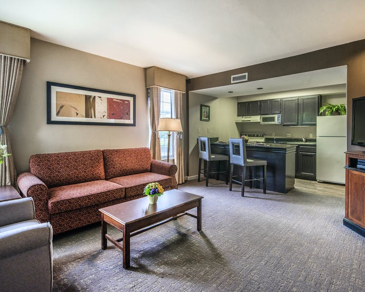 Cloverleaf Suites Living Room with Kitchen