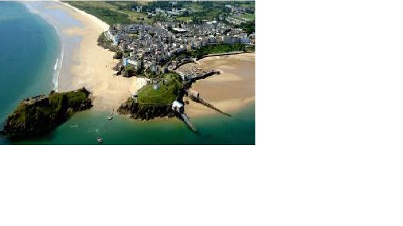 Tenby with its beaches and St Catherine's Island