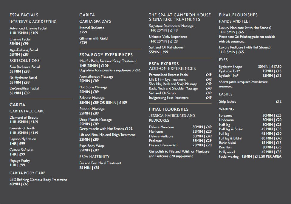 Spa price list cameron house for F salon jaipur price list