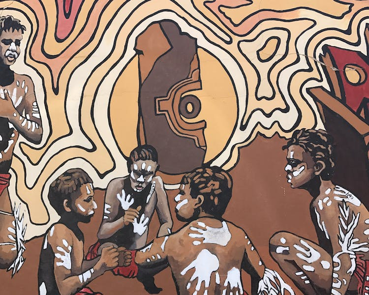 Broken Hill Mural. Aboriginals kids Sculptures