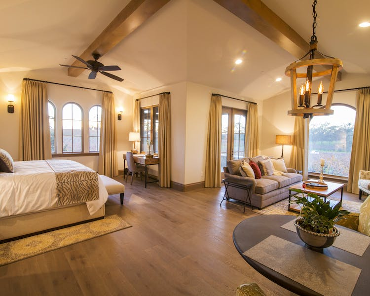Panoramic vineyard views from the spacious Tuscany suite