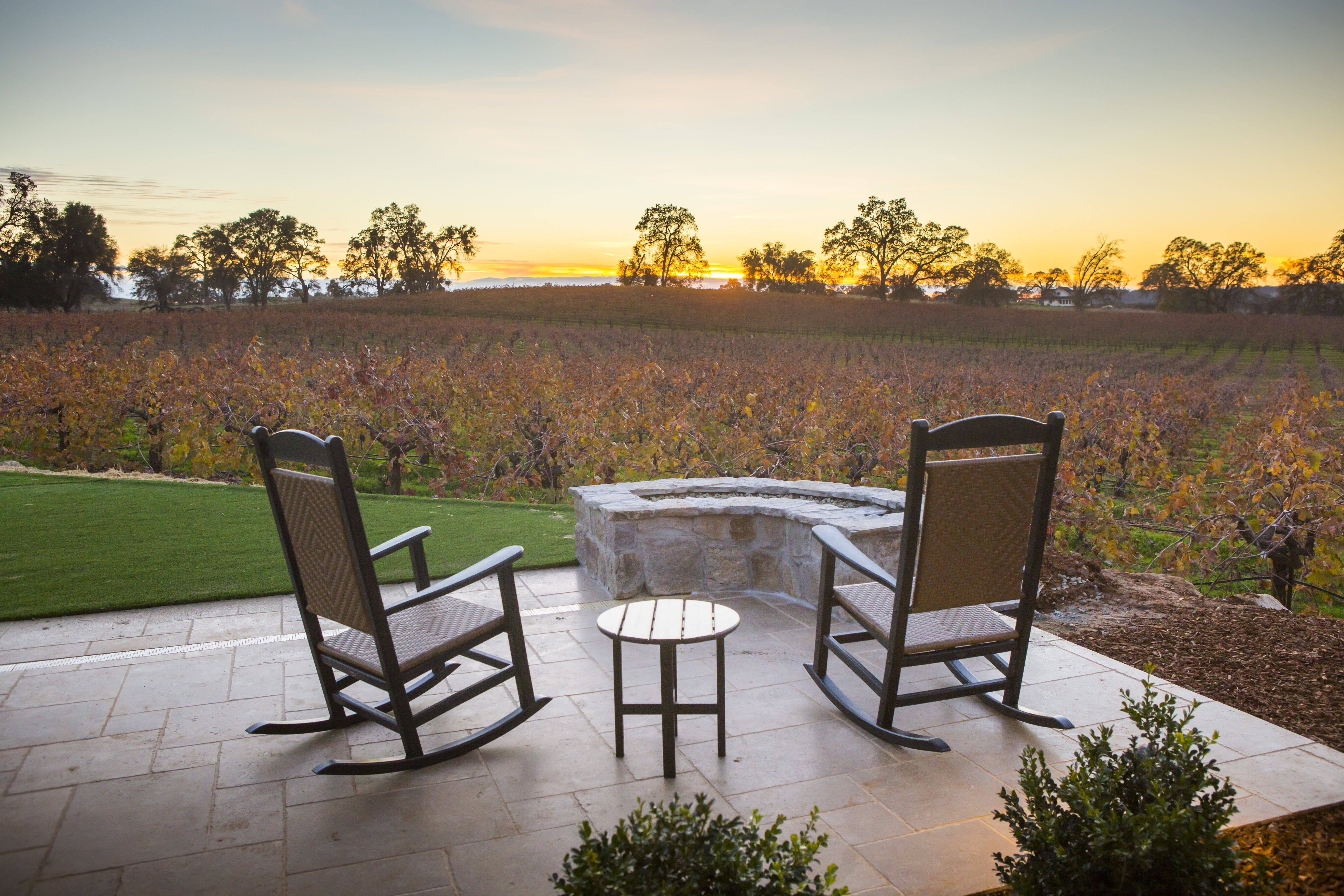 Cozy up to Fire pits with a fine bottle of wine and enjoy the vineyard views!