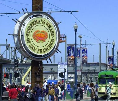 Take the BART from The Dylan Hotel to Fisherman's Wharf. Pier 39.